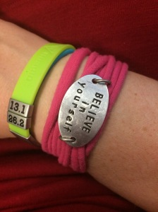 My Momentum Jewelry wrap bracelet with my road ID that I wear as well!