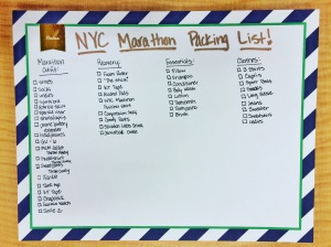 My NYC Marathon Packing List